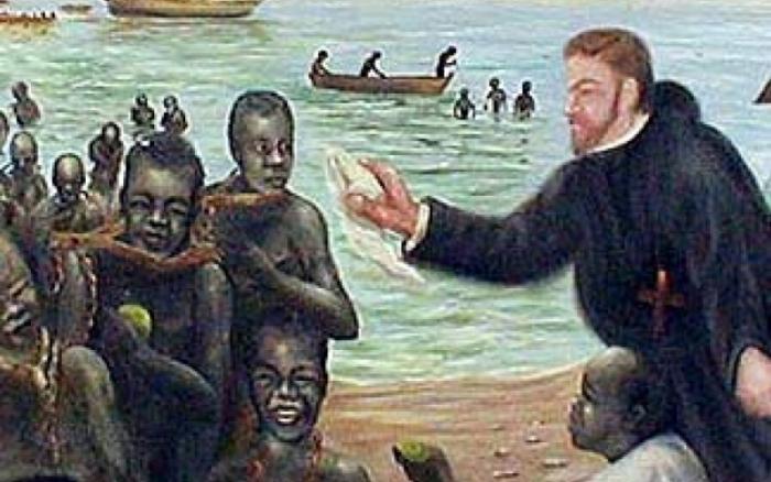 """São Pedro Claver vivia o conselho """"Buscai a Deus nos homens e sirva-os como sua imagem"""", por isso escreveu """"Eu Pedro Claver, dos negros escravo para sempre""""."""