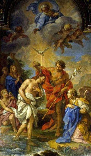 Quando todo o povo ia sendo batizado, também Jesus o foi. E estando Ele a orar, o céu abriu-se: Jesus abre a porta do céu e dele desce o Espírito Santo.