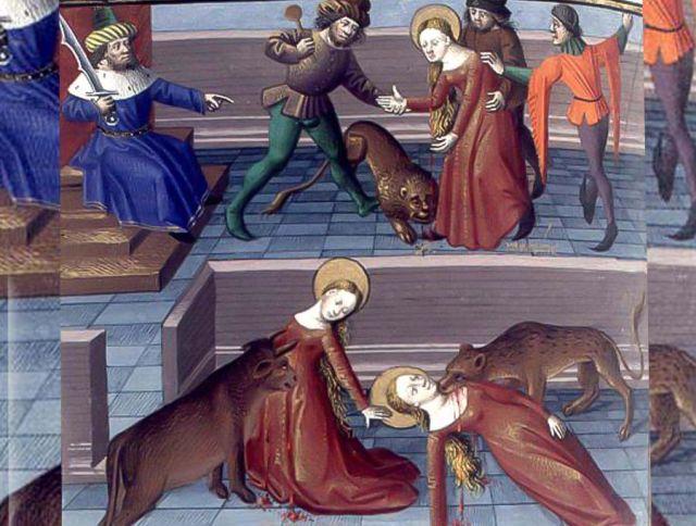 Marciana foi condenada a ser estraçalhada por animais. Um leão avançou contra ela e, de repente, parou, ficou de pé e ...fugiu sem tocar na frágil virgem cristã.